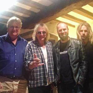 Production Team Tom Allom, Andy Sneap with Glen Tipton and Ritchie Faulkner